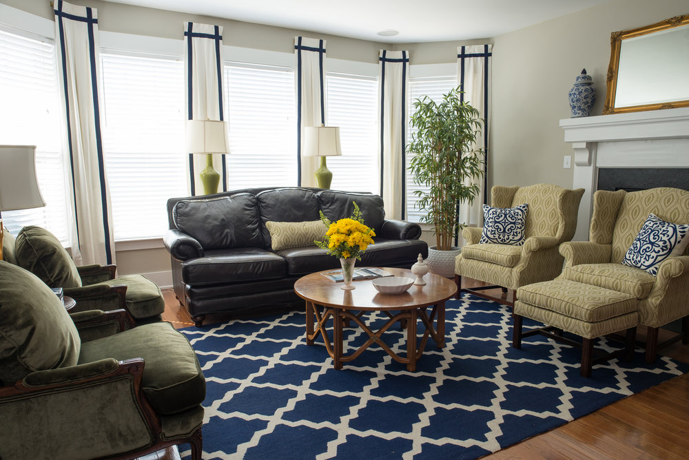 Window Treatments Behind Couch