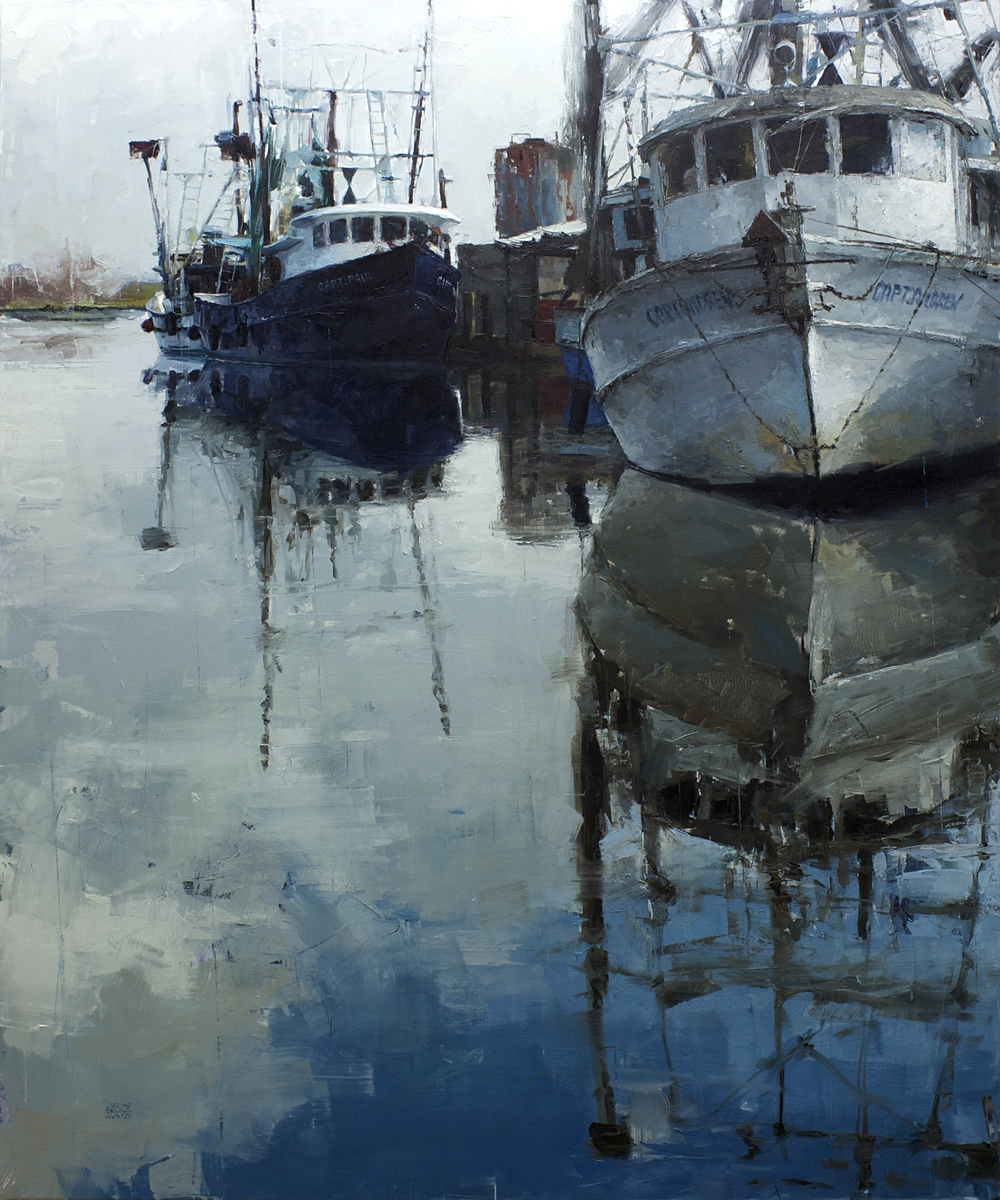 Docked near Paris    2015 72 x 60 inches   oil on canvas