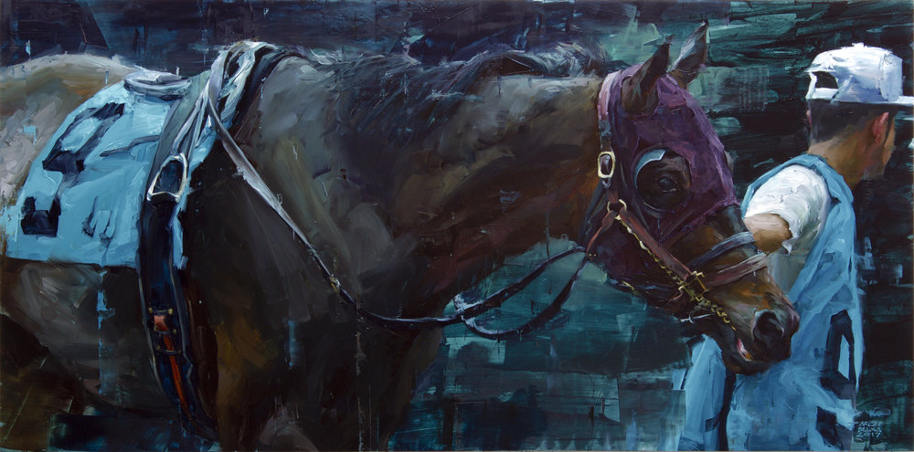 Parading the Paddock   2017 24 x 48 inches   oil on panel