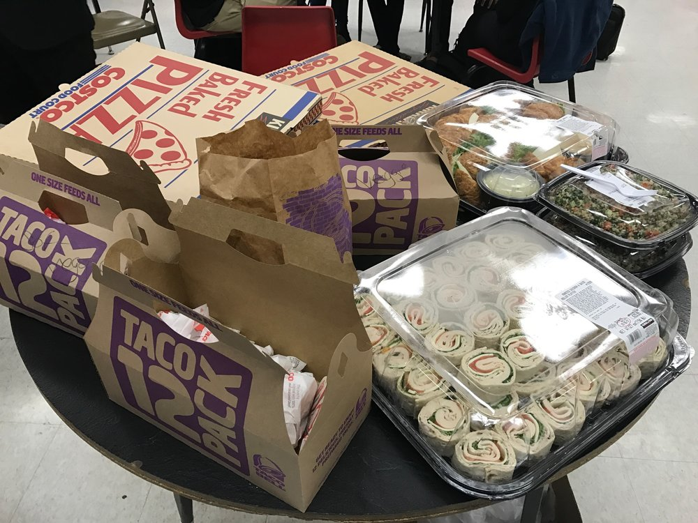 Taco bell, pizzas, salad, wraps, sandwiches! YUM!