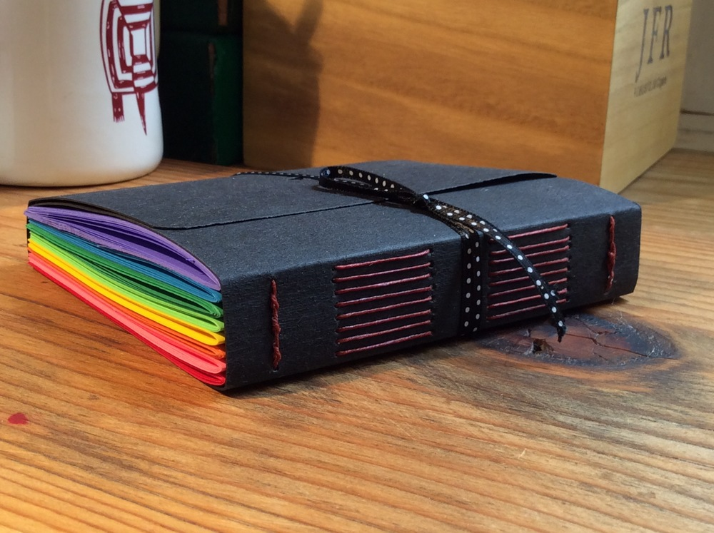 rainbow long stitch journal