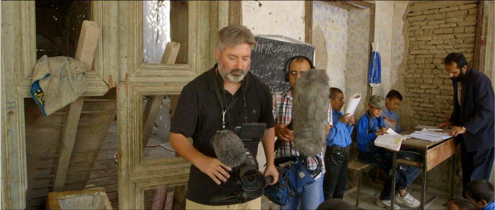 James Longley and Jamshid Amiry filming at the Daqiqi Balkhi school