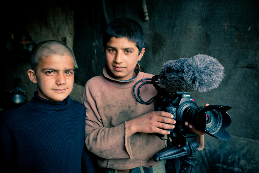 Rohit (left) and Rostam posing with the movie camera during the production of Angels Are Made Of Light