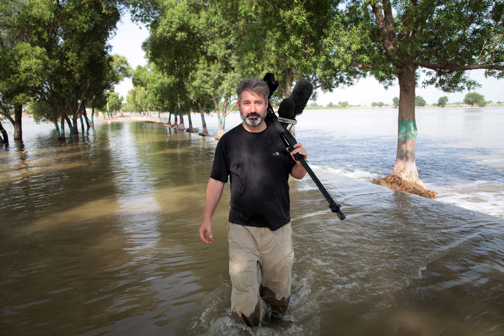 Filming in Sindh province, Pakistan, during the national flooding disaster of 2010. After a year of work, I was forced to leave Pakistan without completing my film projects due to diplomatic problems between the US and Pakistan governments in 2011