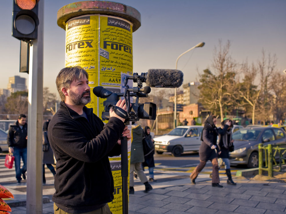 Filming in Tehran. Between 2007 and 2009 I spent 14 months in Iran, mostly filming at a school in a mountain village near the Caspian Sea. All foreign journalists were required to leave Iran after the Green Uprising around the elections in 2009