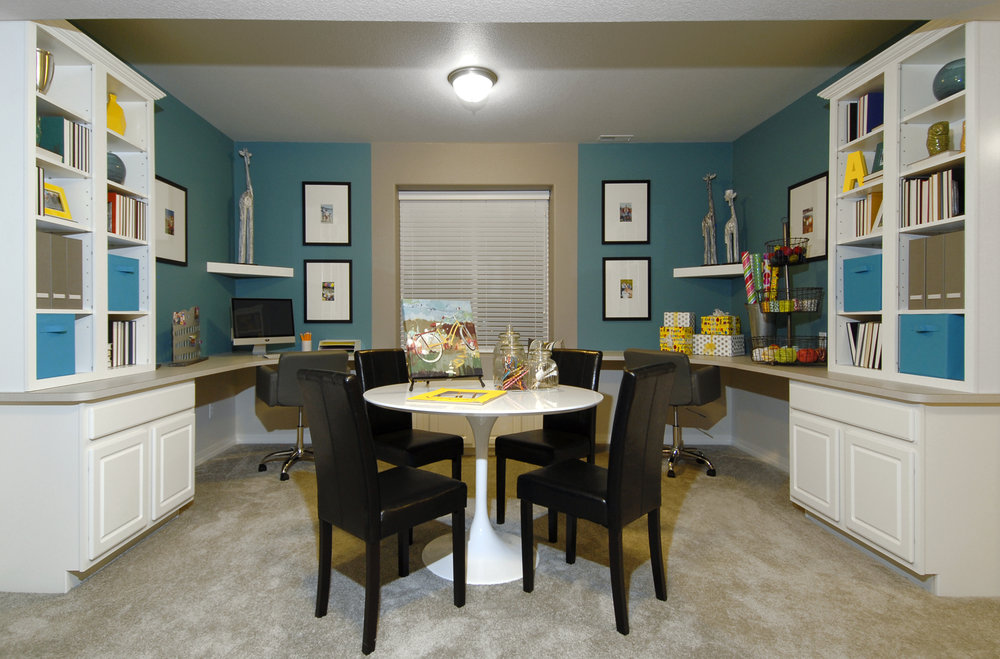 Example of a room that's flexible enough to be a craft room, office, or even spare bedroom for guests.