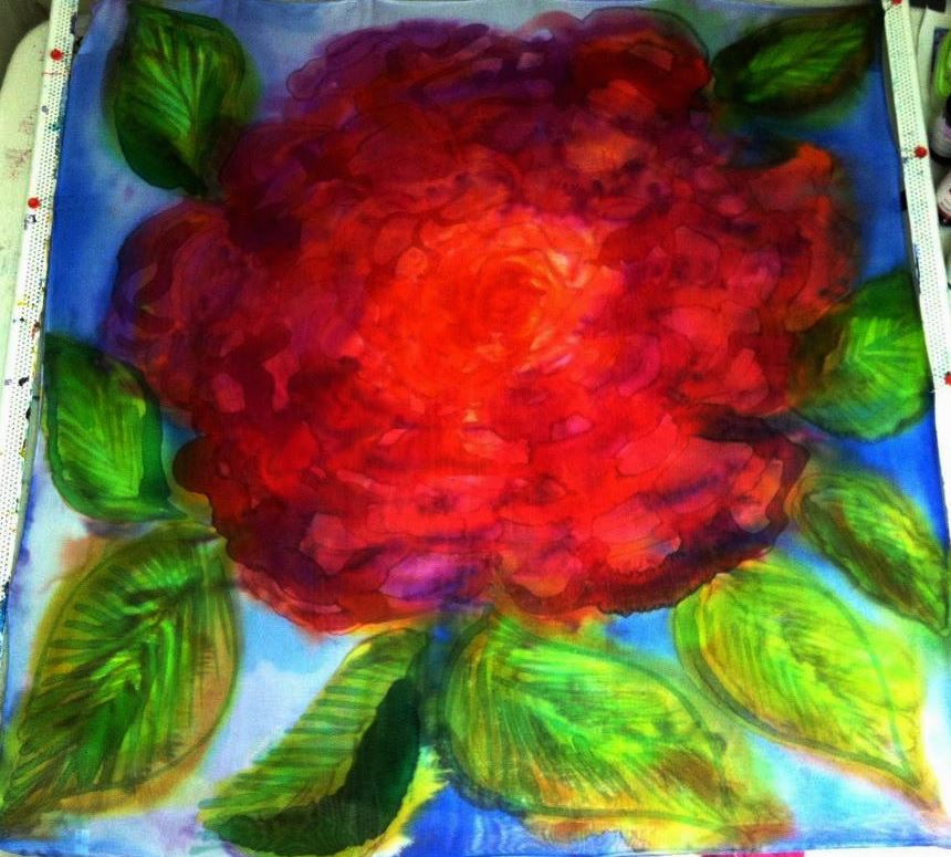 The original painting done on silk by Cydney Mariel Galbraith.