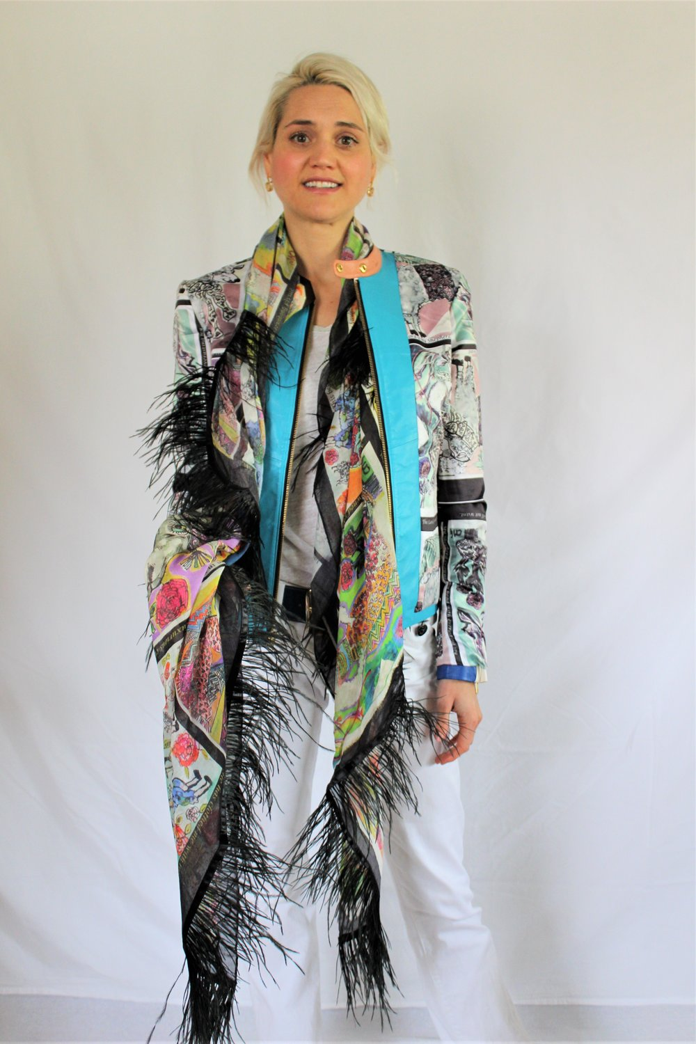 Bahama llama sheep prima donna luxury shawl with ostrich  worn over reversible 12 tribes lambs leather jacket