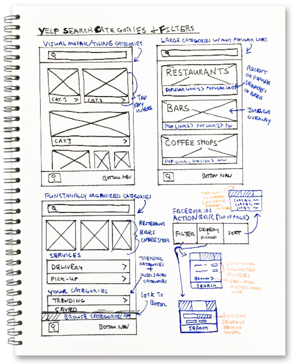 Based on my UX audit findings, I sketched a new framework to engage users with visual call to actions and encourage exploration of browse categories.