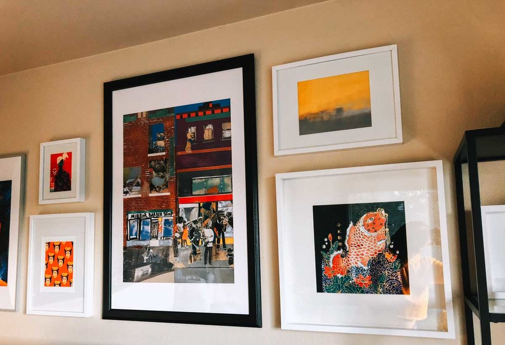 """Kalemba II"" by    Willian Santiago   . ""Colorful Frida"" by    Kendra Dandy   .    ""The Block"" poster    by Romare Bearden via The Met Store. ""The Simple Abstract"" art print by T30 Gallery. Fabric print from my Thailand trip in 2017."
