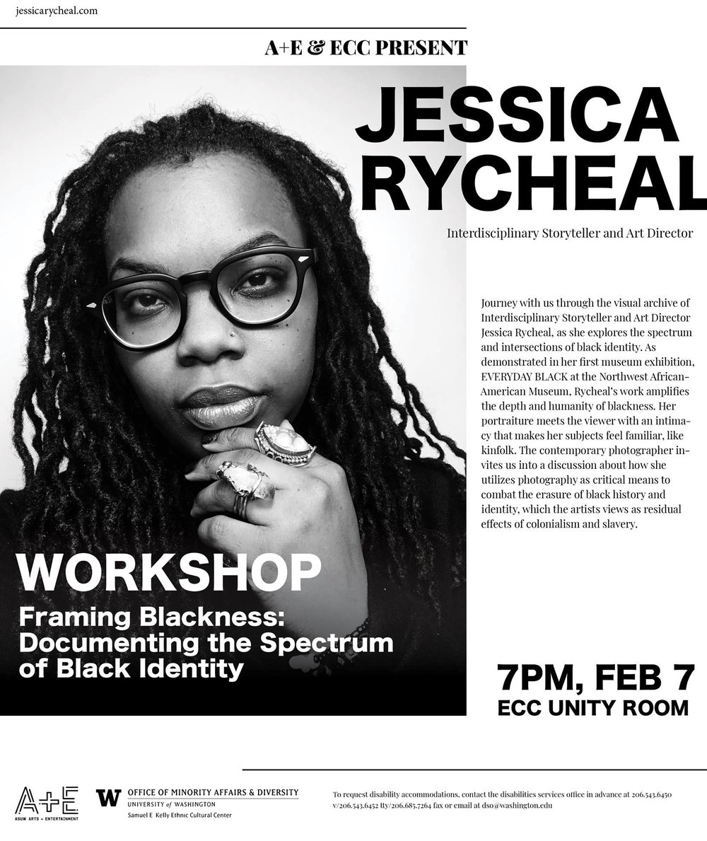 Framing Blackness: Documenting the Spectrum of Black Identity  a workshop by Jessica Rycheal at the University of Washington, hosted by ASUW