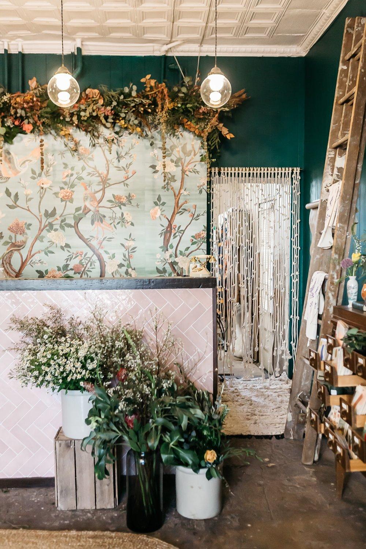 Macrame curtain for She Loves Me flower shop