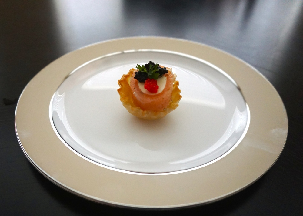 smoked salmon phyllo bites with honey and caviar rosette