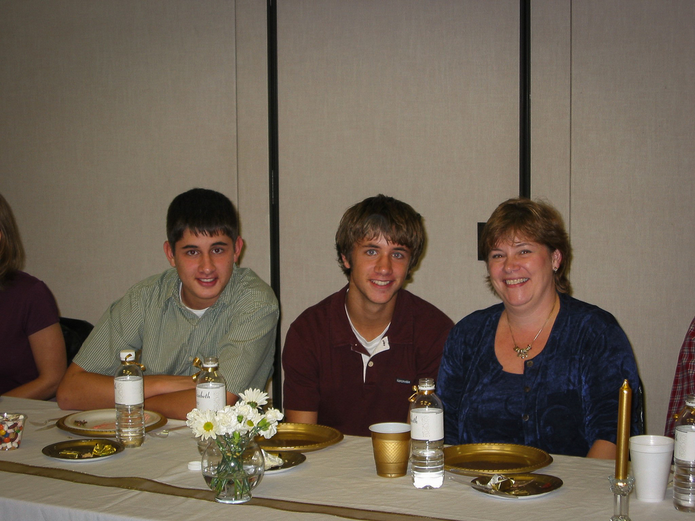 Sue pictured with her two sons, Chris and Scott.