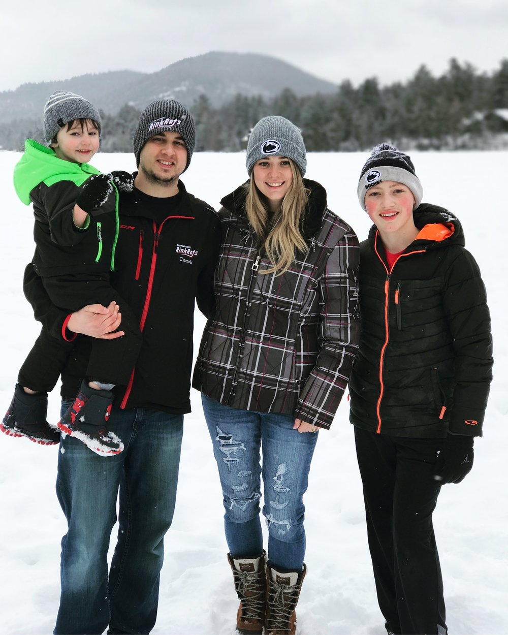 Jessica and her family at Lake Placid, NY for a hockey tournament.