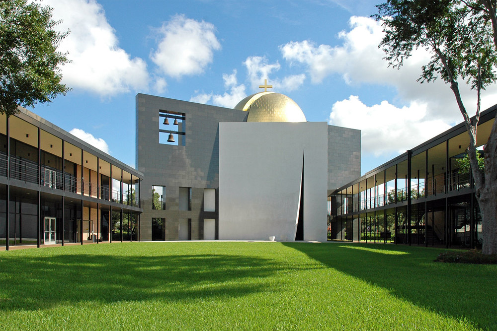 Philip Johnson's Chapel of St. Basil anchors the Academic Mall at the University of St. Thomas. /  photo by Jim Parsons