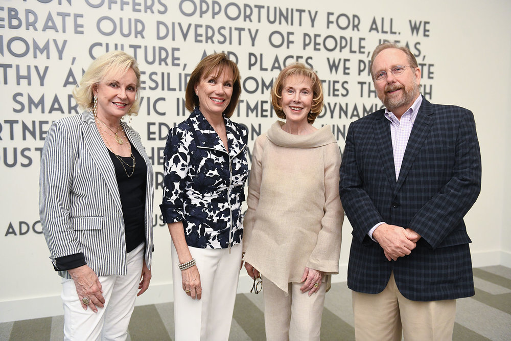 Retiring PH board members Jane-Page Crump, Diane Ofner and John Cryer with PH President Deborah Keyser (second from left) /  photo by Daniel Ortiz