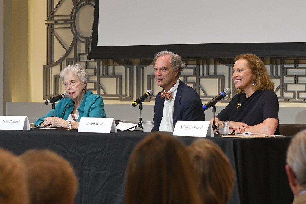 Panel members Betty Chapman, Stephen Fox and Minnette Boesel /  photo by Daniel Ortiz
