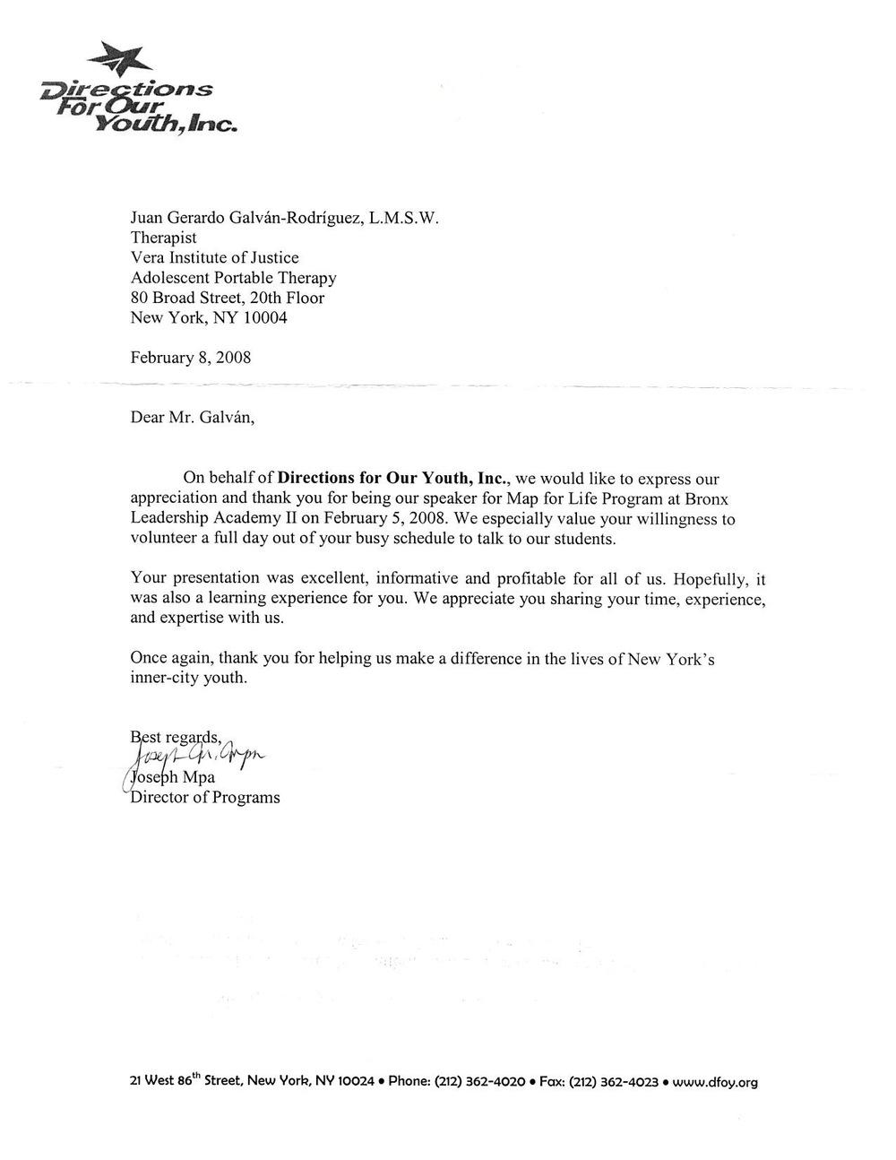 Reconocimiento Carta, Bronx, Nueva York, NY, 08 de febrero 2008