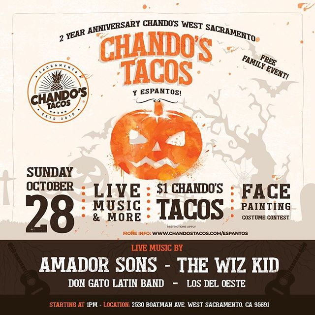 Today at @chandostacos in West Sacramento come join us for a celebration of their 2 year anniversary at the location! Music, food and more! We'll see ya out there! #livemusic #concert #coverband #covers #chandostacos #westsacramento #awesome #instagood