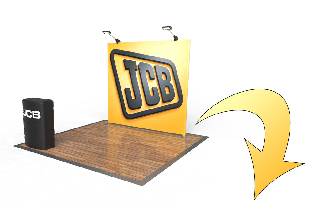 Stage 1 - A simple approach to all of our Exhibition Kits starts with an entry level 3x3 kit to suit all trade show/event exhibitions. Powerful brand recognition is still achieved with an illuminated back display wall and display counter.