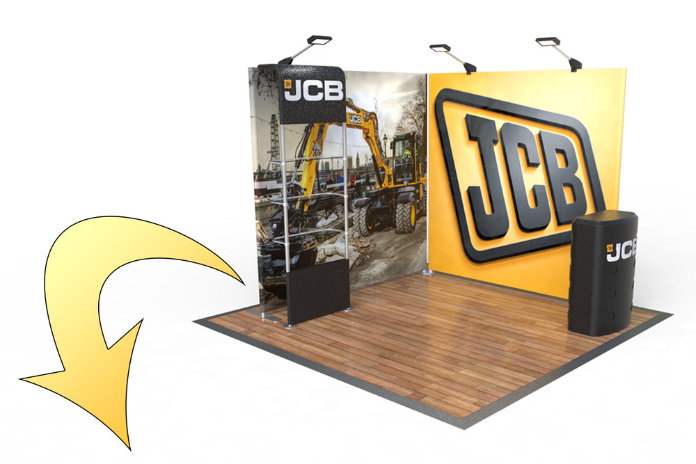 Stage 2 - You can jump straight in with an upbeat version of Stage 1, for those requiring a little more brand presence we've added a secondary display wall with our fantastic matching waterfall shelving display.If you already have Stage 1 you can simply add value to your exhibition as your brand grows, keeping your investment fresh and dynamic, minimizing costs.