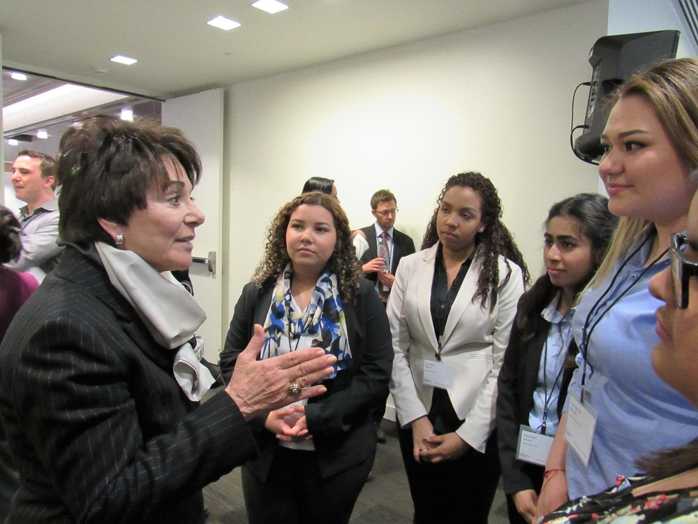Congresswoman Anna Eshoo encouraging the debaters