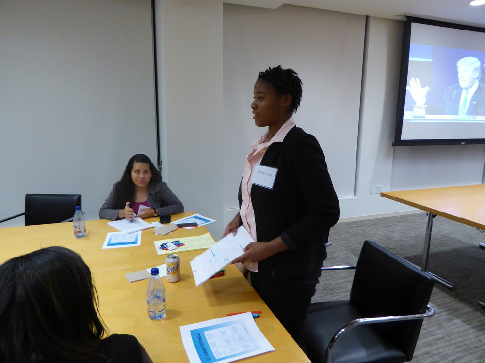 Nyisha at the Presidential Debate Watch event hosted with Skadden Arps in Palo Alto