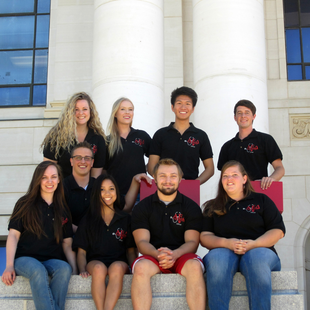 2014-2015 AED Officers (left to right) Back: KC Olson, McKenzi Yocus, Vincent Fu, Michael Thompson Front: Andrea Meyers, Ryan Bennion, Christine Jaojoco, Steven Howell, Amber Coburn