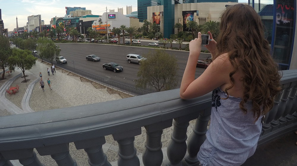 Skylar taking a picture of the view in Las Vegas