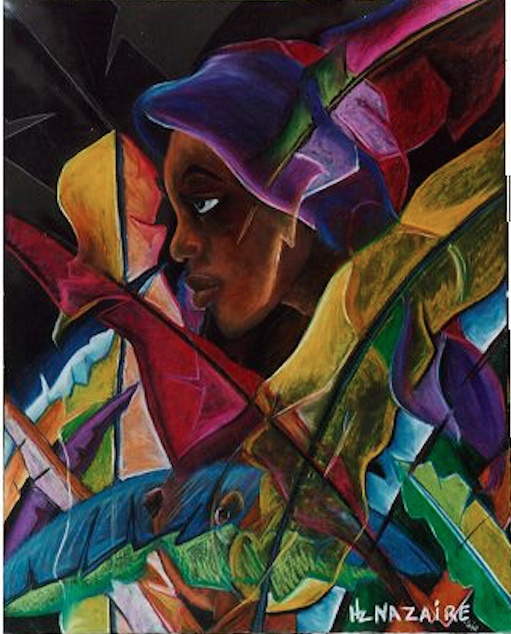 Haitian Girl by Hertz Nazaire 1997 Oil Pastels on Board