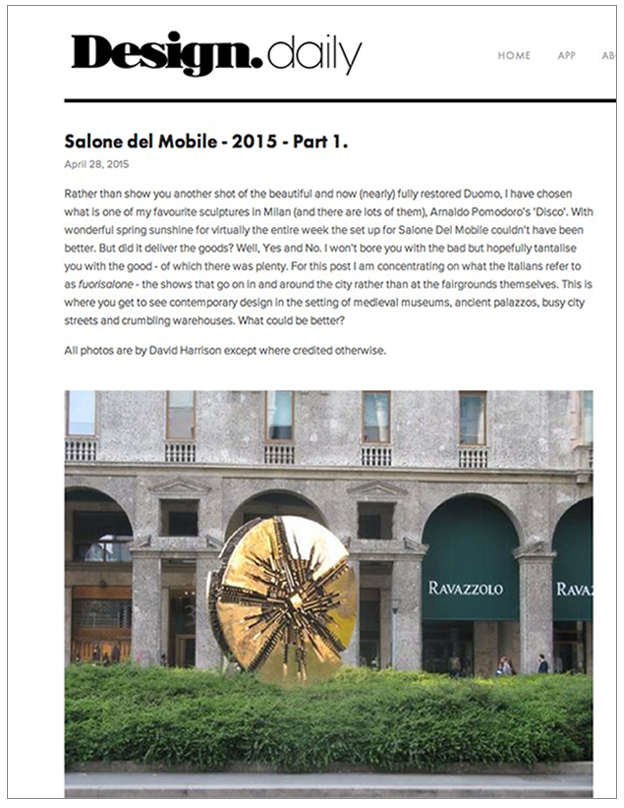 Design Daily - Design Blog Salone del Mobile, 2015 April 2015 Article Link