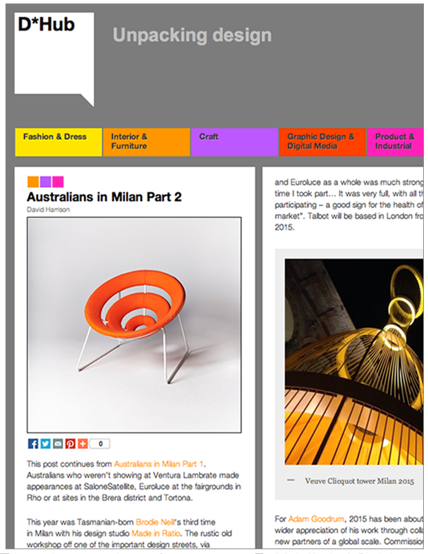 D*HUB - Design Blog  Australians in Milan Part 2, 2015 April 2015  Article Link