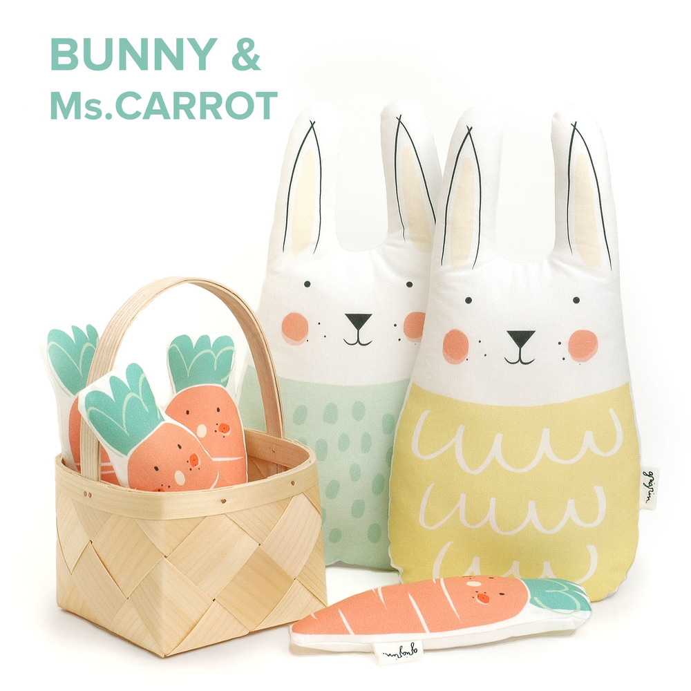 Bunny soft toy and carrot