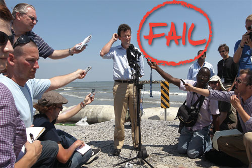 """BP CEO Tony Hayward faced the media on an oil-stained beach on May 24, 2010 at Port Fourchon, Louisiana. The world is still feeling the effects of the BP oil spill nearly a year later— not only nature, but tourism and businesses have been hit. Hayward's response after the spill—""""I want my life back""""— exacerbated the public outcry against BP. Hayward has since resigned. PHOTO: Athit Perawongmetha/Getty Images & John Moore/Getty Images"""