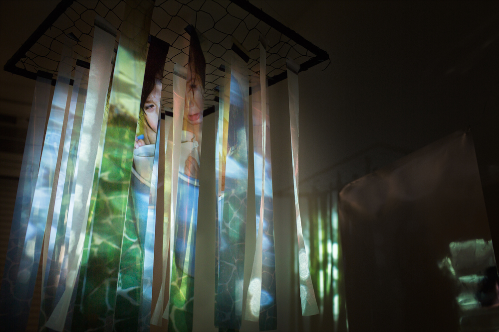 Archival pigment print on transparency, vellum, string, wood, mylar, video projection, fan.
