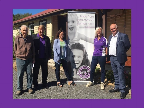 Left to right - neil johnson (much loved meander resident), peter ferrall (director Tct), senator jacqui lambie, tanya cavanagh (executive director TCT) & steve old (general manager THA)