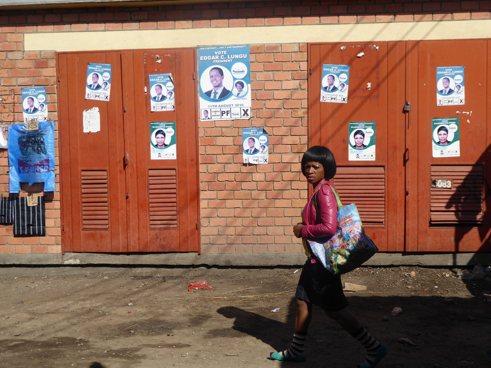 Election campaign posters in Lusaka, Zambia Photo: Wendy Willems