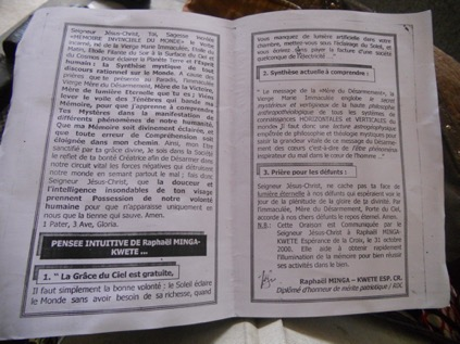 a pamphlet produced by the prophet Frère Raphael Minga-Kwete (picture taken in 2012)