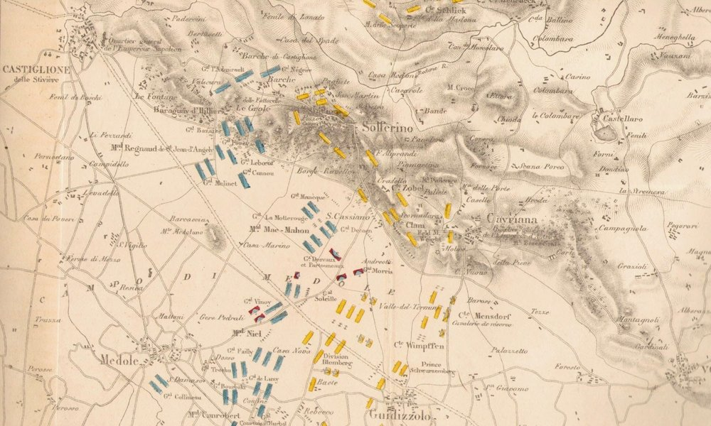 The battle of San Martino and Solferino in a french map from 1859. In green the Piedmont troops, in blue the french ones, in yellow  the austrians. From  Wikipedia .