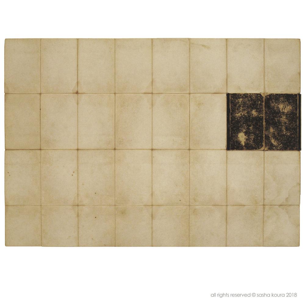 Auf Alten Wegen/ © Sasha Koura 2018 / 90 cm x 64 cm / Assemblage: Papier, Leinen, Karton