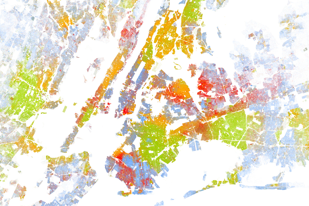 Map of residential segregation in New York City, by Dustin Cable at the University of Virginia's Weldon Cooper Center for Public Service