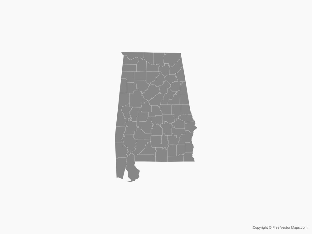 Map of Alabama with Counties - Single Color by FreeVectorMaps.com