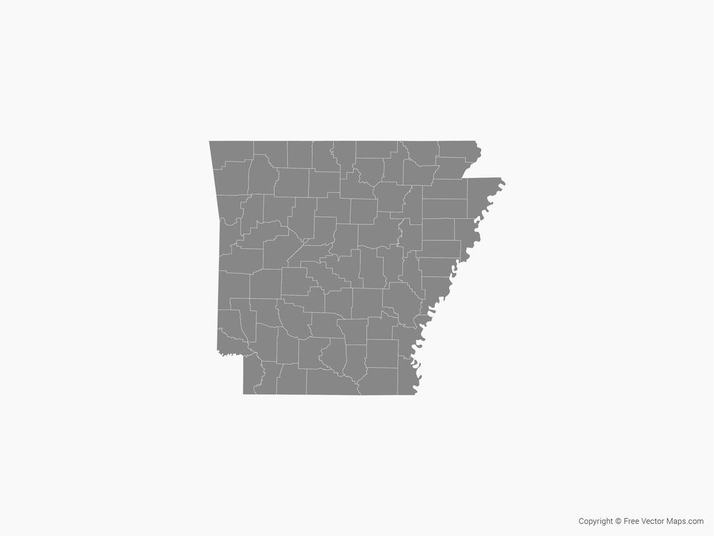 Map of Arkansas with Counties - Single Color  by FreeVectorMaps.com