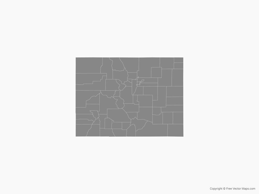Map of Colorado with Counties - Single Color  by FreeVectorMaps.com