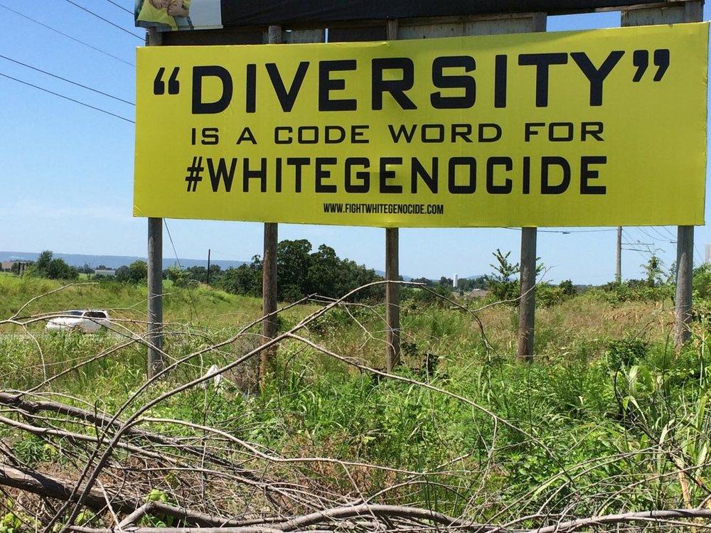Roadside billboard in Harrison, Arkansas, 2017.