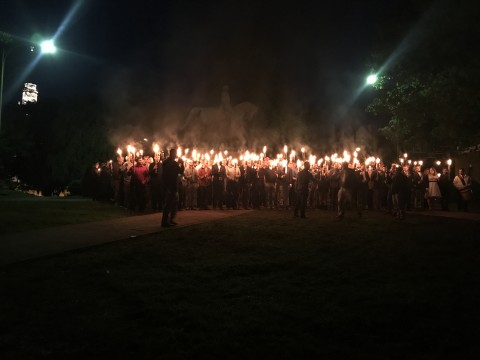 White supremacist rally in Virginia, 2017.