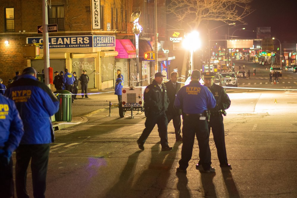 April 4, 2018 - Police investigate themselves at the corner where they shot Saheed Vassell. Photo - Justin C. Cohen.