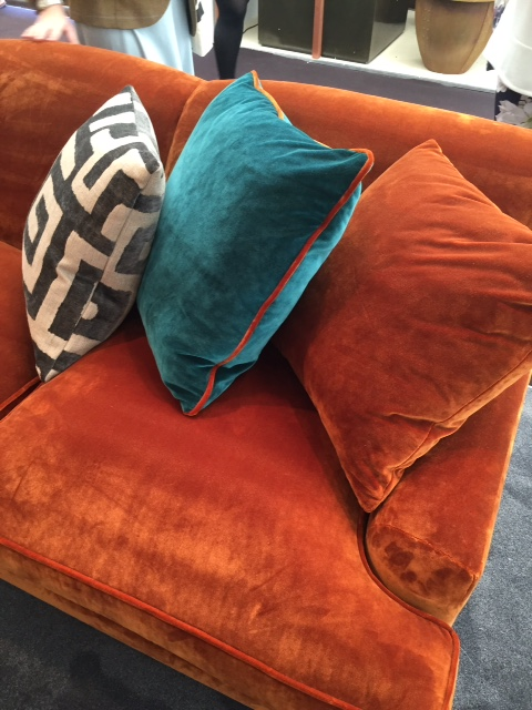 Not all of the cushions need to be piped. Here we like use of the same fabric as sofa, a contrasting colour with the same colour piping as sofa and an introduction of a geometric design that at the first glance looks alien but really adds interest.