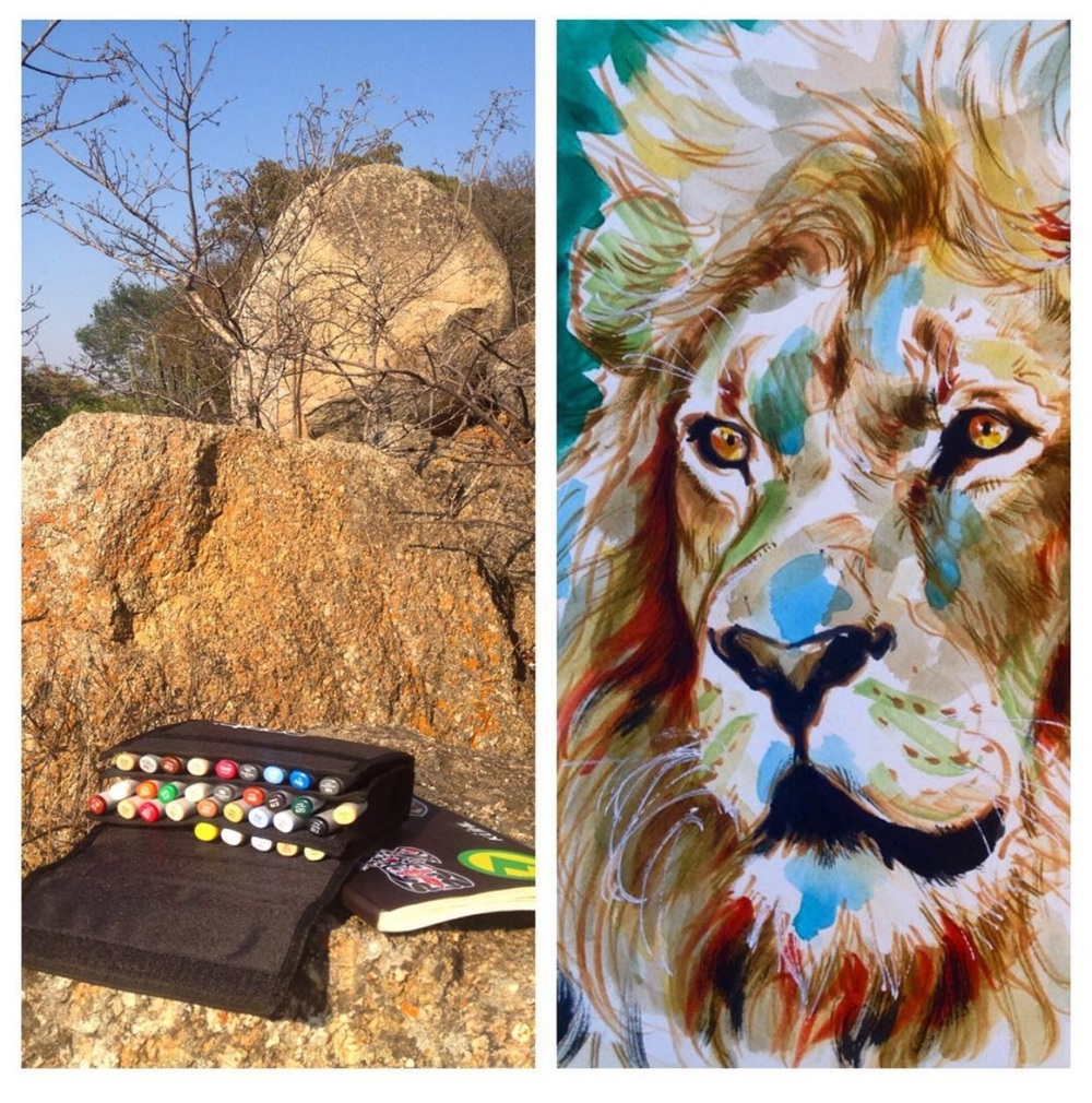 Drawing at the Lion Park in Zimbabwe. Art by Manu